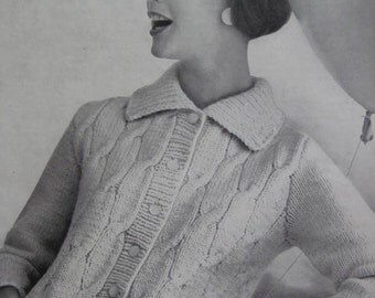1960's Vintage Knitting PDF Pattern Women's Cardigan Sweater pdf file 736-23