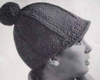 1960's Vintage Knit Pattern for Brimmed Hat with Pom-Pom PDF Pattern 9205