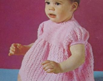 1960's Vintage Crochet PDF Patterns Baby Dress and Diaper Cover and Knit Baby Blanket B-688