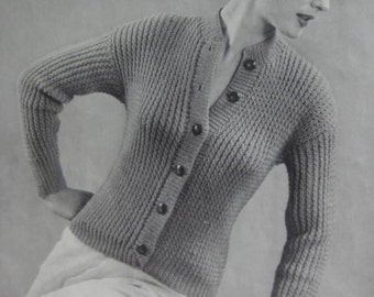 1950's Vintage Knitting PDF Pattern Women's Cardigan Sweater 447