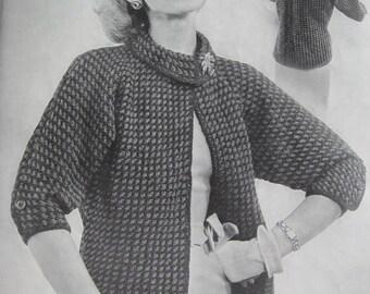 1950s Vintage Knitting PDF Pattern Women's Sweater Jacket 439
