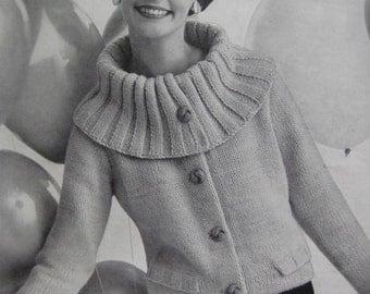 1960's Vintage Knitting Pattern Women's Jacket PDF pattern 736-21