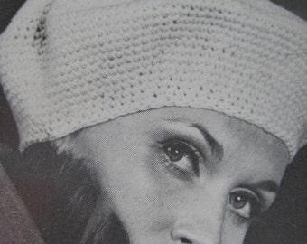 1960's Vintage Crochet Pattern PDF Women's Beret 2147-165