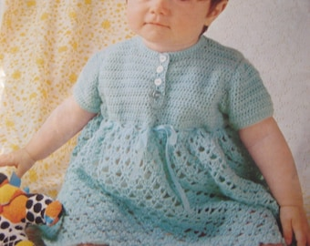 Vintage Crochet Baby Dress PDF Pattern P176b