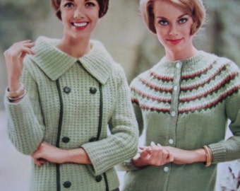 PDF 1960's Vintage Knitting Patterns Women's Sweaters 747-13, 747-14