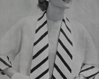 1950's Vintage Knitting PDF Pattern Women's Sweater with Striped Lapels and Cuffs 453