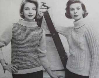 1950's Vintage Women's Knit Sweater Patterns PDF 729-1, 729-2