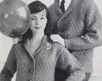 1960's Vintage Knitting PDF Patterns His and Hers Cardigan Sweaters 736-24A, 736-24B