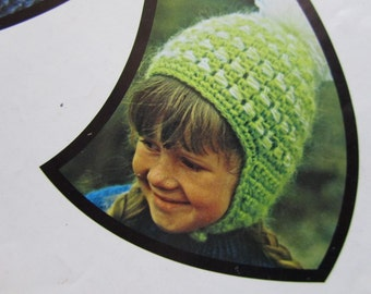 Vintage Crochet PDF Pattern Children's Helmet Hat 867