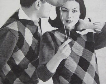 1960's Vintage Knitting PDF Patterns His and Hers Argyle Pullover Sweaters 736-6A 736-6B