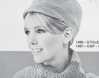 Crochet Hat Pattern, Crochet Scarf Pattern PDF - Ladies' Hat with Brim and Scarf 1406, 1407