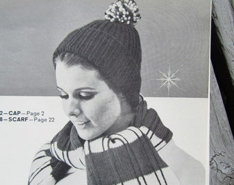 Knitted Hat Pattern, Knitted Scarf Pattern PDF - Ladies' Knit Hat with Pom Pom and Striped Knit Scarf 1412, 1418