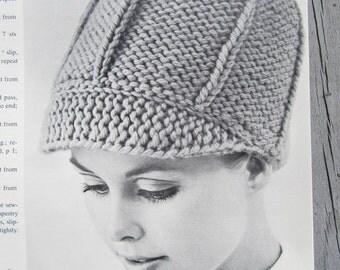 Knitted Hat Pattern - Vintage Pattern, Ladies' Knit Hat with Brim PDF Pattern 1417