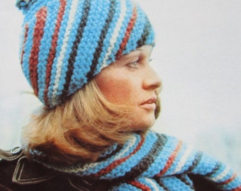 Knitted Hat Pattern, Knitted Scarf Pattern - 2 Vintage Patterns, Knit Hat and Scarf Set PDF 2286-212