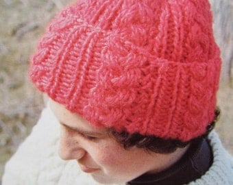 Knitted Hat Pattern - Vintage PDF Pattern, Knit Hat with Cables 2278-212