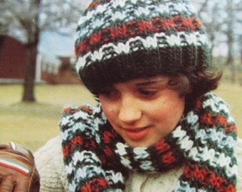 Knitted Hat Pattern, Knitted Scarf Pattern - 2 Vintage PDF Patterns, Knit Hat and Scarf Set 2280-212