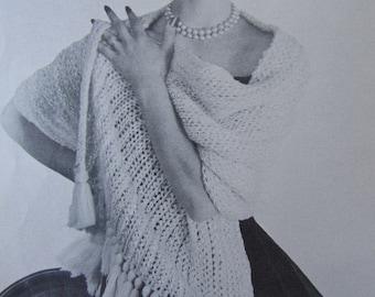 Crochet Shawl Pattern - 1950's Vintage PDF Pattern, Ladies' Crochet Shawl Wrap Stole 3334