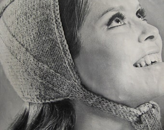 Knit Hat Pattern - 1960's Vintage Pattern, Women's Knitted Hat PDF Pattern 9210