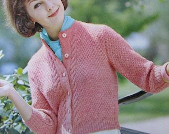 Knit Sweater Pattern PDF - 1960's Vintage Pattern, Women's Cardigan Sweater 2812