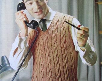 Knit Sweater Vest Pattern PDF - 1960's Vintage Pattern, Men's Sweater Vest 2823