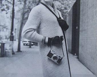 Knit Coat Pattern,1950's Vintage Pattern PDF - Ladies's Knitted Sweater Coat Pattern 5059
