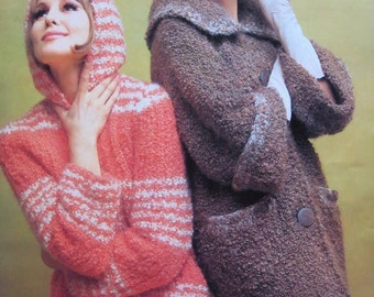1960's Vintage Knitting PDF Patterns Women's Hooded Sweater and Long Coat and Beret 375-119, 1799-119