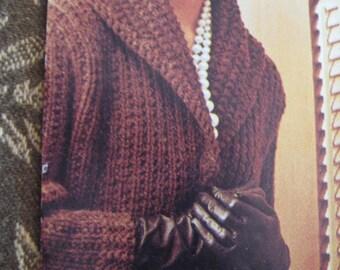 Knit Sweater Pattern, Ladies' Long Coat 1960's - Vintage Pattern PDF, Women's Coat 429