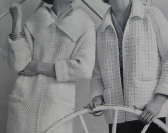 1960's Knit Sweater Coat PDF Pattern, Crochet Coat Pattern - Vintage Patterns 733-28, 733-29