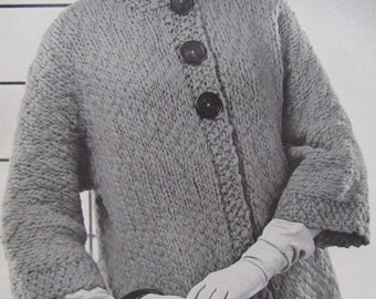 1960's Knitting Patterns, Vintage Pattern Women's Sweater Coat Pattern PDF Pattern 6703