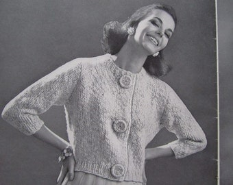 1960's Knitting PDF Patterns, Vintage Pattern Women's Sweater Pattern 6711