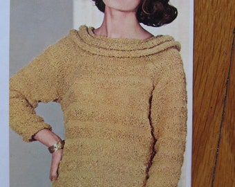 1960's Knitting Patterns, Vintage PDF Patterns, Women's Knit Sweater Pattern 8314