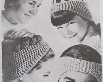 Knit Hat and Headband Patterns - Vintage PDF Patterns 118j