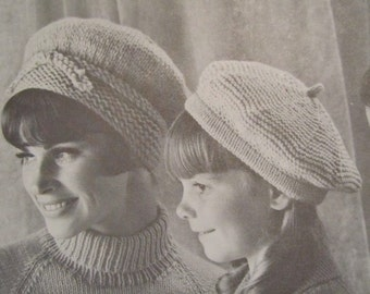 Knit Hat Patterns - 2 Knit Beret Patterns, Vintage Patterns PDF Pattern 118i