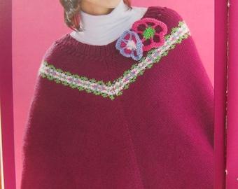 1970's Knit Poncho Pattern, Vintage Knit Pattern PDF Pattern GS3