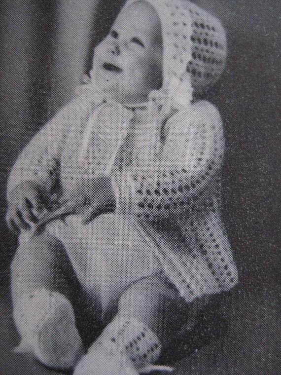 Vintage Crochet Baby Patterns Sweater Bonnet Booties Set PDF Patterns P111f