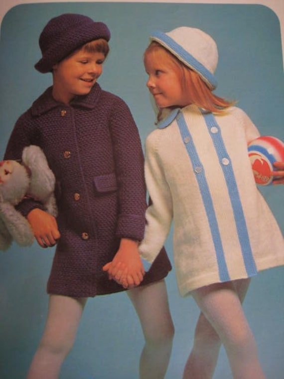 1960's 4 Vintage Knitting PDF Patterns Children's Coats and Hats 3032, 3026