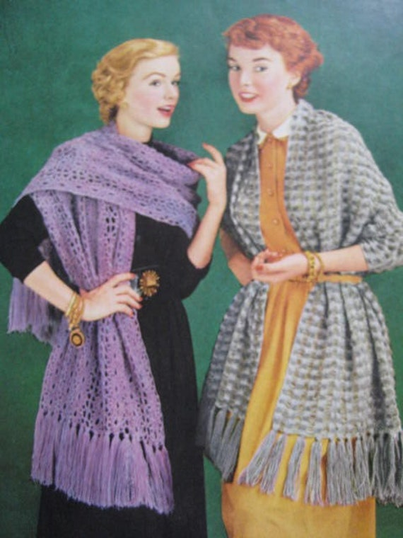 1950's 2 Vintage Knitting and Crochet Patterns PDF Women's Shawls, Wraps or Stoles C160, C161
