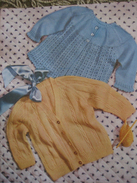 PDF Baby Knitting Patterns - Vintage Patterns, 1960's 2 Vintage Knitted Baby Sweaters 6097