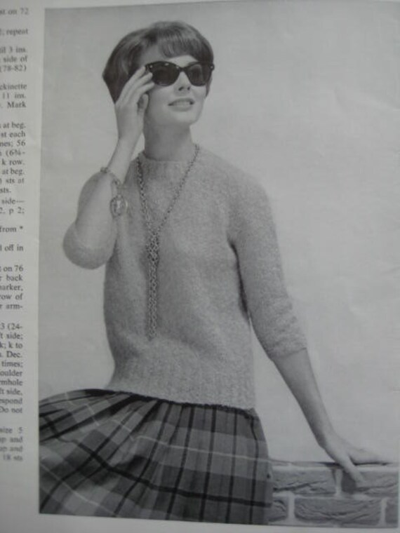 1960's Vintage Knitting PDF Pattern Women's Mohair Pullover Sweater 940