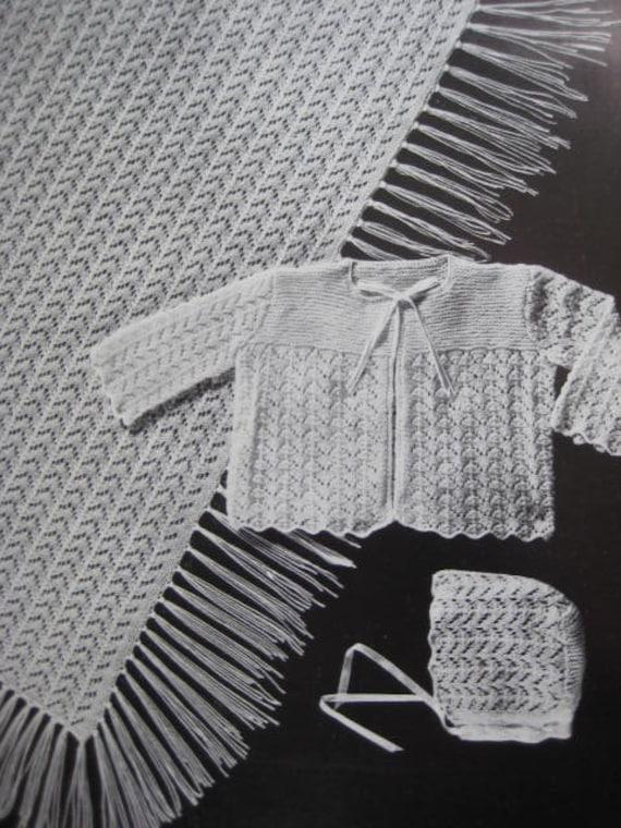 Baby Knitting Patterns, 1950's 3 Vintage Knitting PDF Patterns Baby Blanket Sweater Hat 6112
