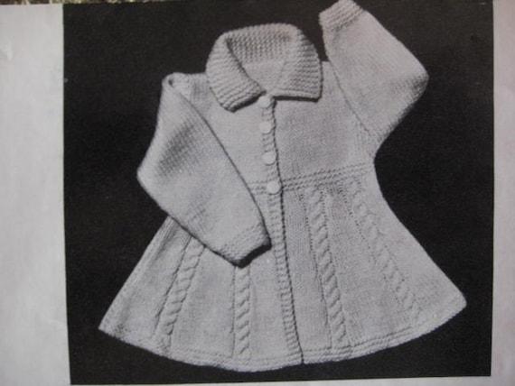 Vintage Knitting Pattern Infant and Toddler Girl's Flared Coat PDF Pattern 50B-31