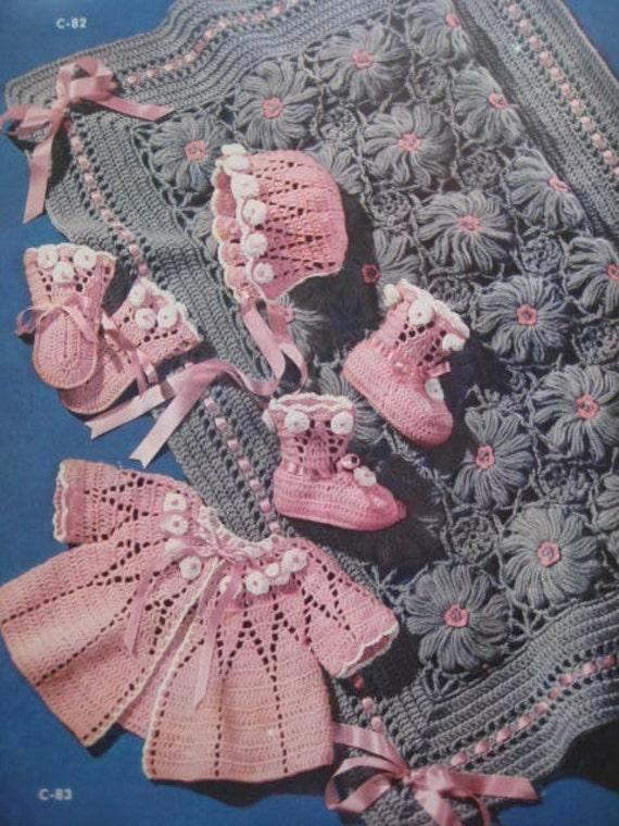 Baby Crochet Patterns - 1950's 5 Vintage PDF Patterns Baby Sweater Booties Bonnet Mittens Blanket C82, C83