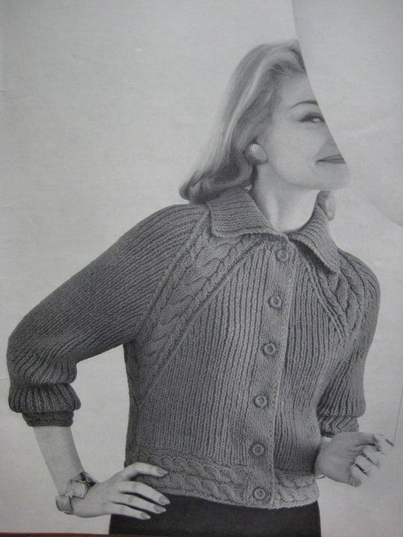 1960's Vintage Knitting Pattern PDF Women's Raglan Cable Jacket pdf file 736-7