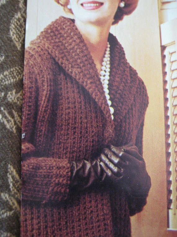 Knit Sweater Pattern Ladies' Long Coat 1960's