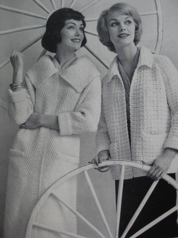 1960's Knit Sweater Coat PDF Pattern, Crochet Coat Pattern - Vintage Patterns 733-28, 733-29