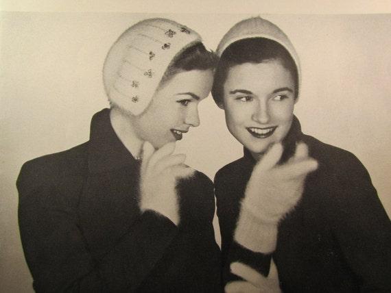 Knit Gloves and 2 Ladies' Caps pdf Patterns, 1950's Vintage Patterns B-512, B-510, B-511