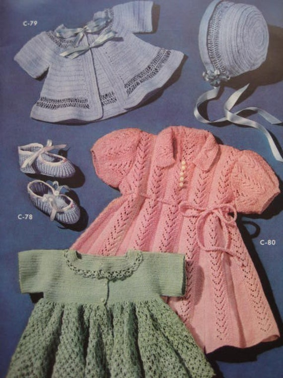 1950's 5 Vintage Crochet and Knitting PDF Patterns Baby Sweaters, Booties, Bonnet, Dress C78-80