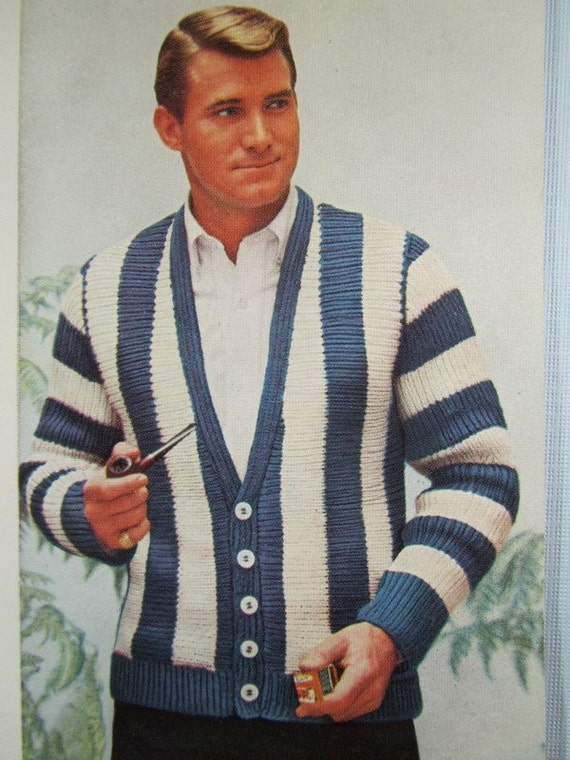 Knit Men's Cardigan Sweater Pattern 1950's by ...