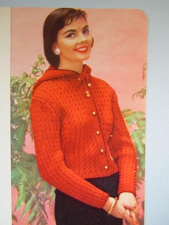 Knit Hooded Sweater Pattern 1950s Vintage Pattern