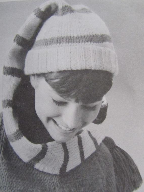 Knit Hat Pattern PDF - Vintage Pattern, Knitted Stocking Cap Pattern 118l